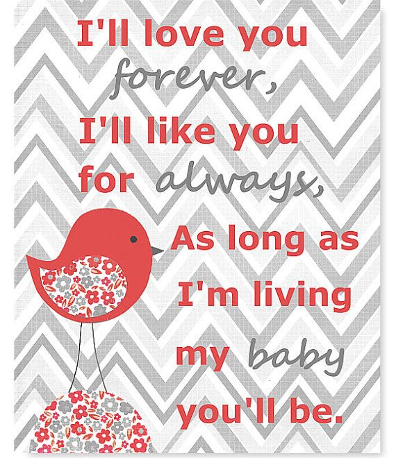 I'll Love you Forever Coral and Gray Nursery by SweetPeaNurseryArt, $15.00