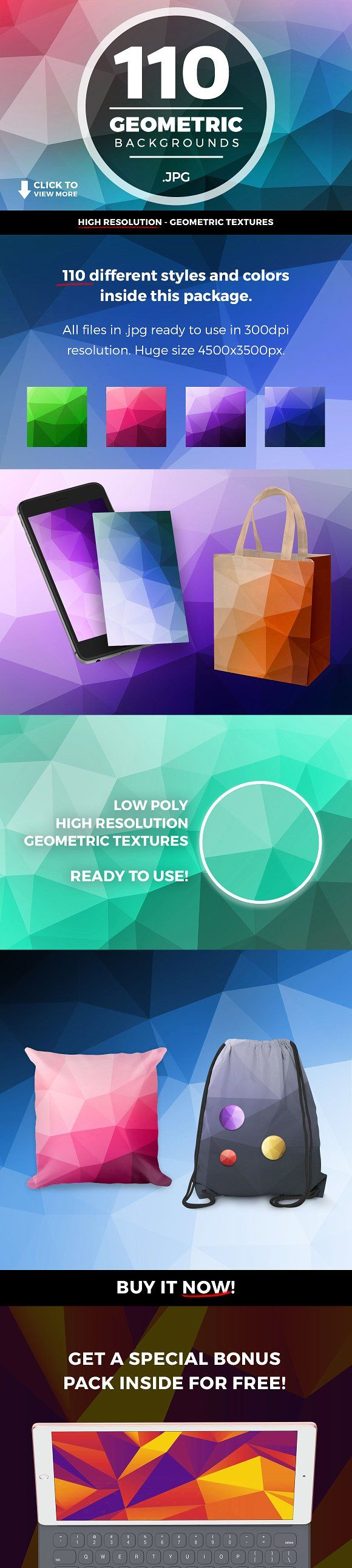 Geometric Triangle Backgrounds 110+ by caiocall on @creativemarket