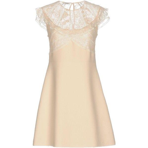 Miu Miu Short Dress ($1,500) ❤ liked on Polyvore featuring dresses, beige, short-sleeve lace dresses, lace swing dress, beige dress, short lace dress and short-sleeve dresses