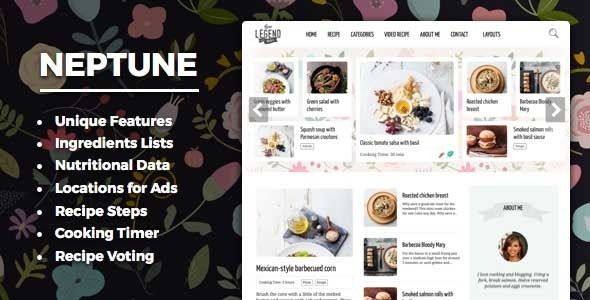 Neptune - Theme for Food Recipe Bloggers & Chefs - Personal Blog / Magazine