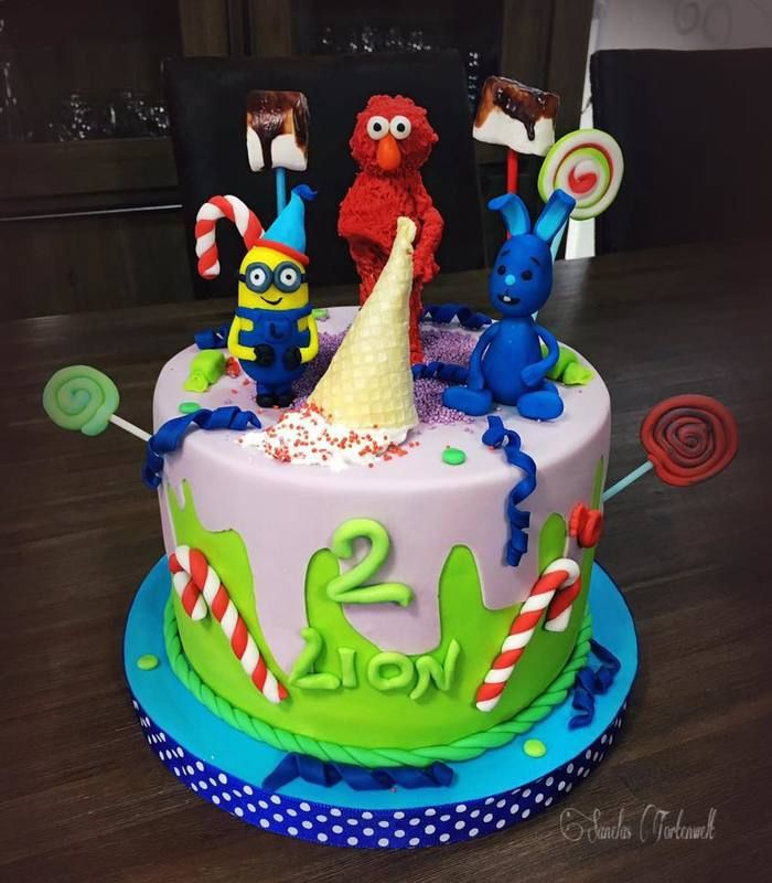 Motivtorte - Minion, die Sesamstraße, Elmo, Kikaninchen