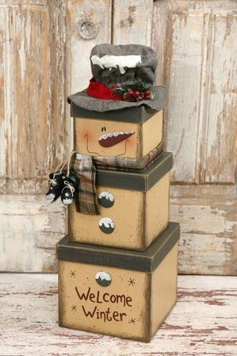 "New Country Primitive SNOWMAN STACKING BOXES Top Hat Scarf Nesting Box 20"" high"
