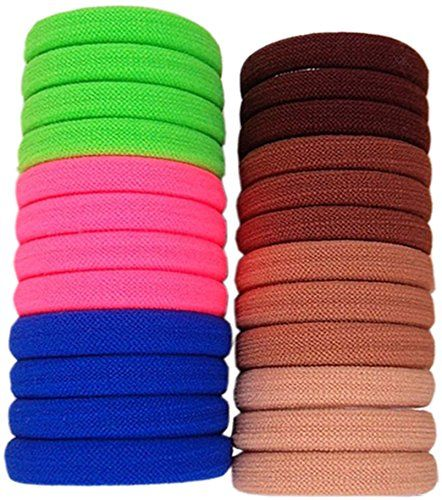 LiveZone 24-Pack High Elastic Boutique Rubber Bands Seamless Stretch Hair Ties Bands Rope Ponytail Holders Headband Scrunchie Hair Accessories for Ladies Women Girls DIY HairstyleChocolate & Colorful