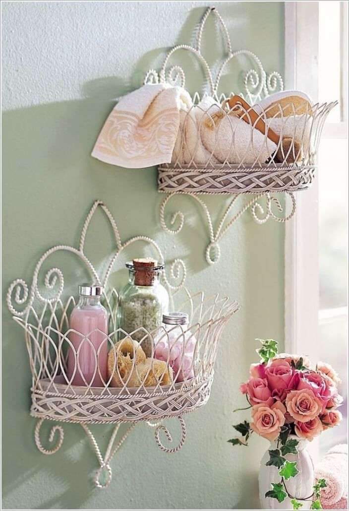 Lovely Wall Mounted Basket Storage for Bathroom