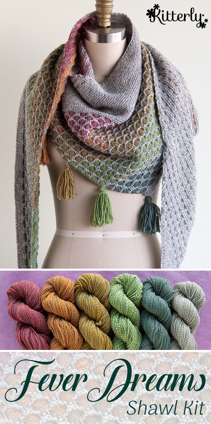 Fever Dreams shawl knitting kit by Spincycle Yarns…