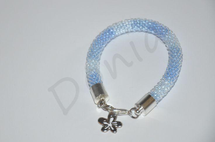 Bead Crochet Bracelet - more and less blue