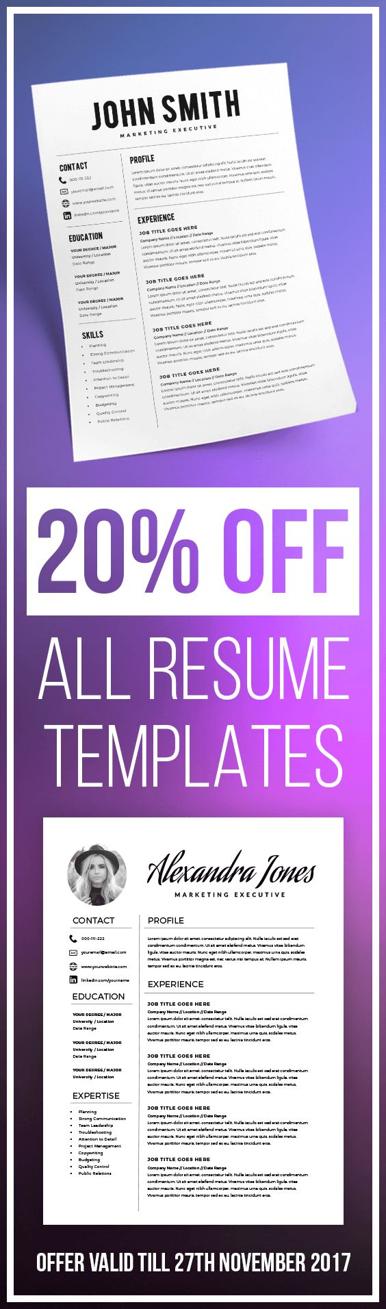 20% OFF ALL RESUME TEMPLATES - Resume Template - Resume Builder - CV Template - Cover Letter - MS Word on Mac / PC - Sample - Best Resume Templates - Instant Download