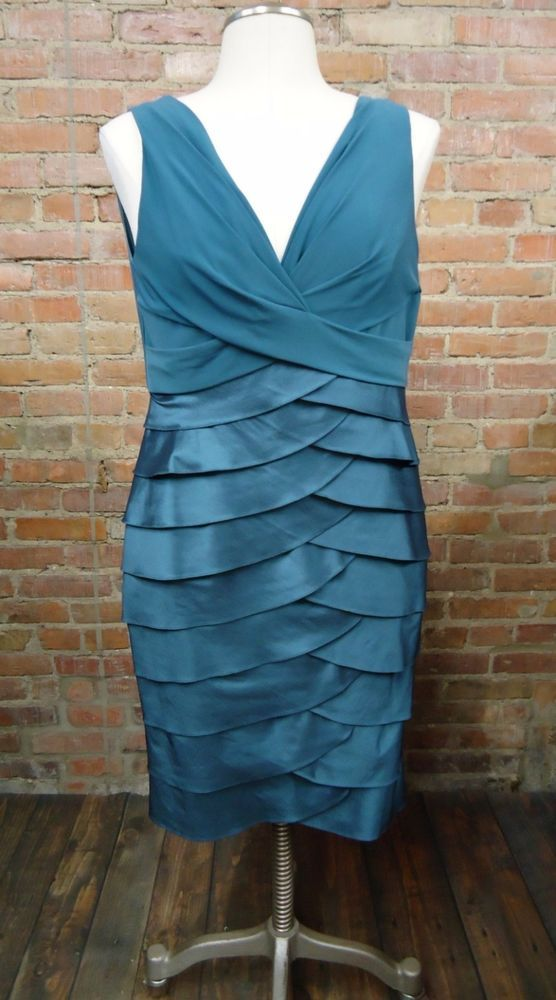 Adrianna Papell Blue Criss Cross Ruffled Formal Party Cocktail Dress Size 14 #AdriannaPapell #Sexy #Formal
