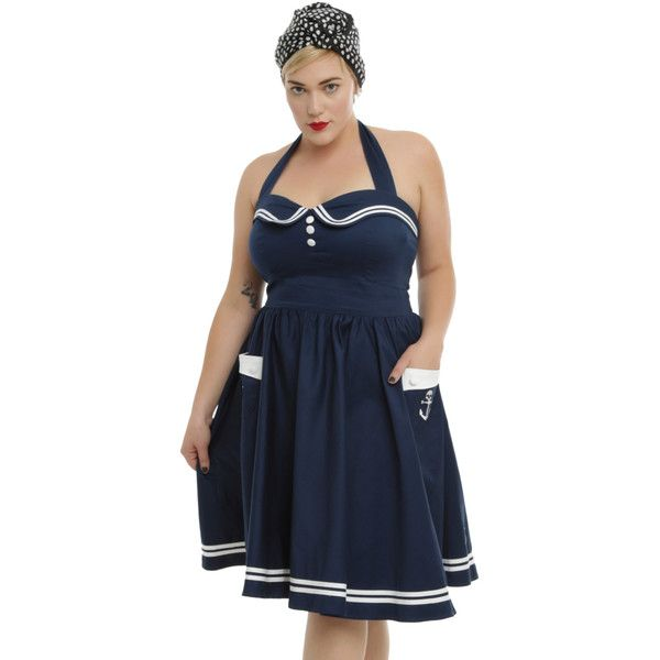 Hell Bunny Navy Motley Sailor Dress Plus Size ($42) ❤ liked on Polyvore featuring dresses, women's plus size dresses, navy dress, navy plus size dress, plus size skull dress and blue halter top