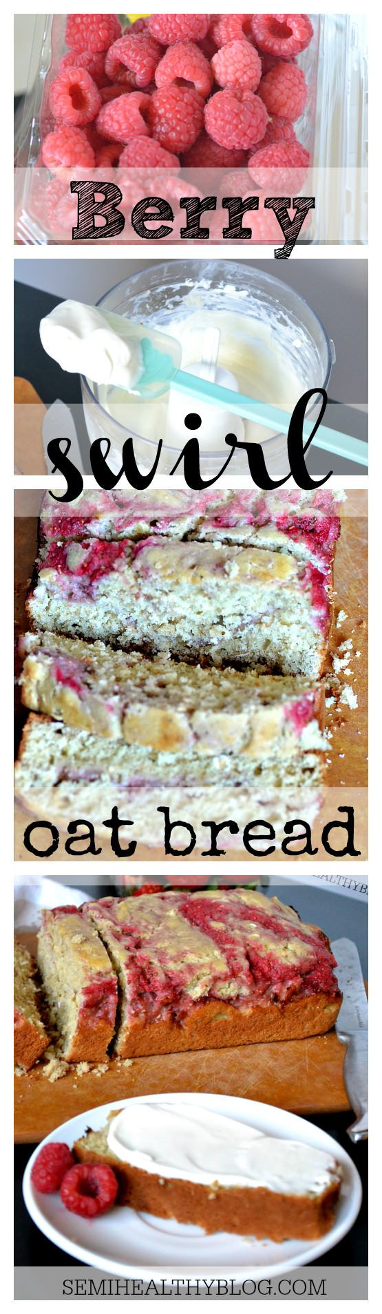 berry swirl oat bread with whipped goat cheese collage via @semihealthyblog.com