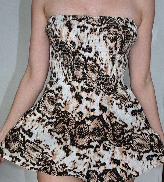 Romper jumpsuit mini 90s  summer  vintage overall onesie  madium  M 10/ 38   cotton pattern leopard animal brown white