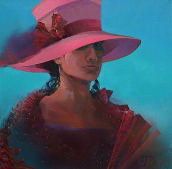 Dame met roze hoed en waaier