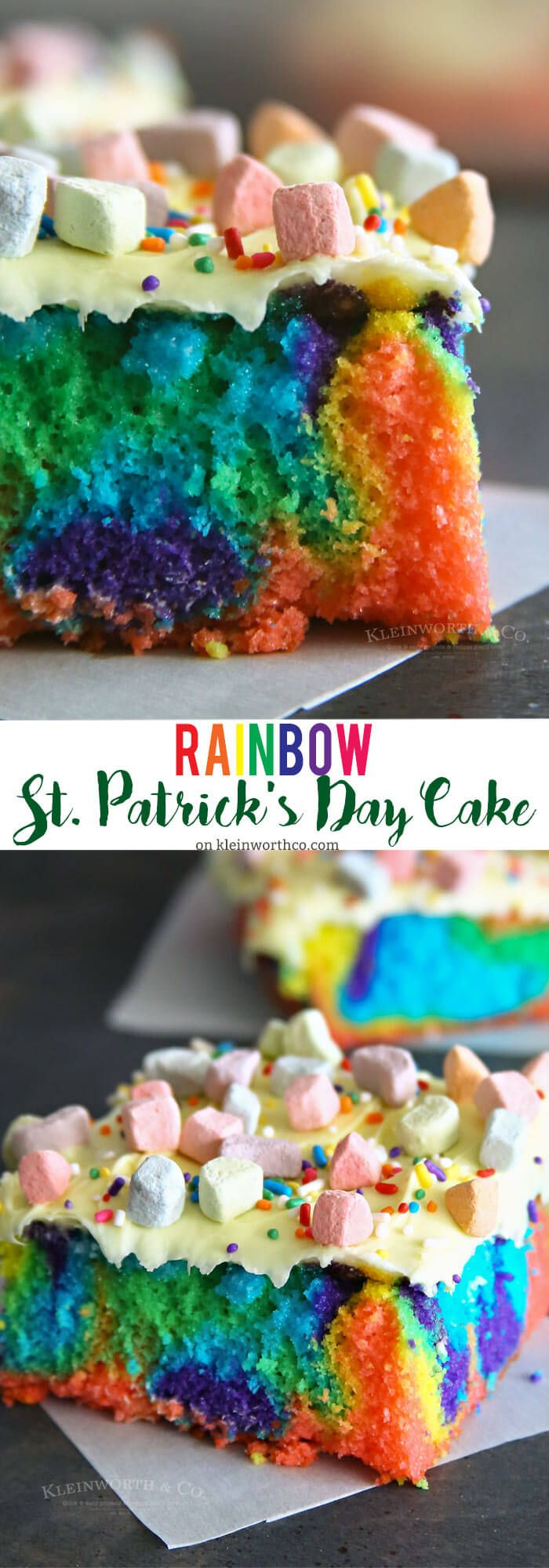 Rainbow St. Patrick's Day Cake is super easy to make & the perfect dessert for your St. Patrick's Day celebrations!  via @KleinworthCo