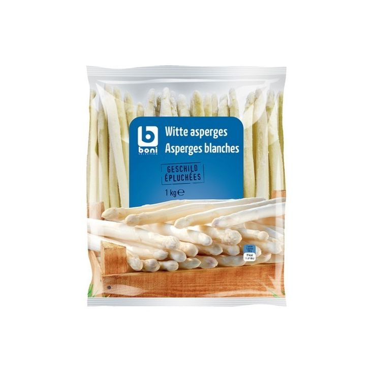 BONI SELECTION  asperges blanches 1kg, €9.95 BONI SELECTION asperges blanches il peut être utilisé dans des recettes asperges à la flamande,gratin d'asperges, potage, roulades d'asperges délicieux dans une quiche ou simplement passé au beurre avec une pincée de persil