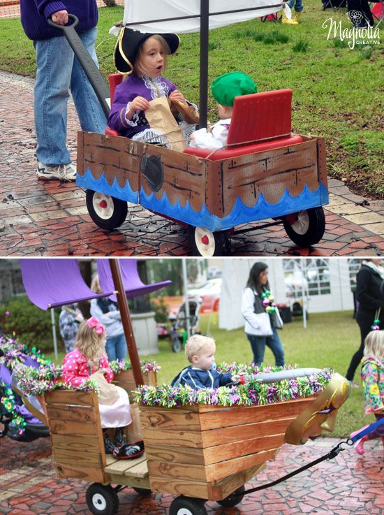 LOVE this idea of kiddie float parade for a pirate themed party.  Parents decorate a wagon and the kiddos have a parade!