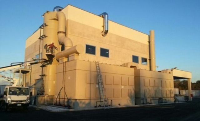 Deodorizing plant installed in a wastewater treatment plant