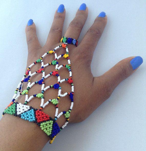 Zulu beaded hand / slave bracelet by HouseofYimama on Etsy