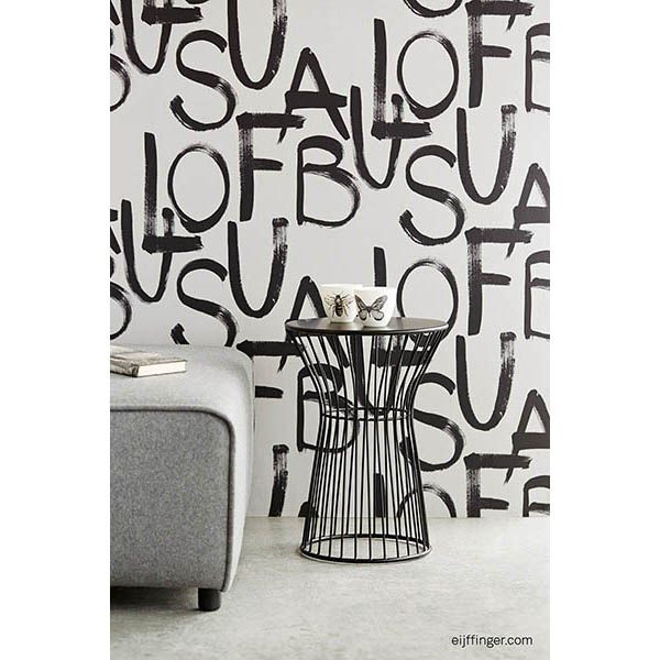 356141 Light Grey Brushstroke Text - Fabulous - Black And Light Wallpaper by Eijffinger