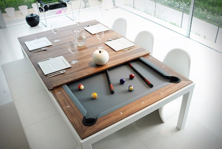 Let your indoors shine with this brilliant Fusion Pool Table And Dining Table which is a true masterpiece that can save a lot of space and not look boring at the same time.