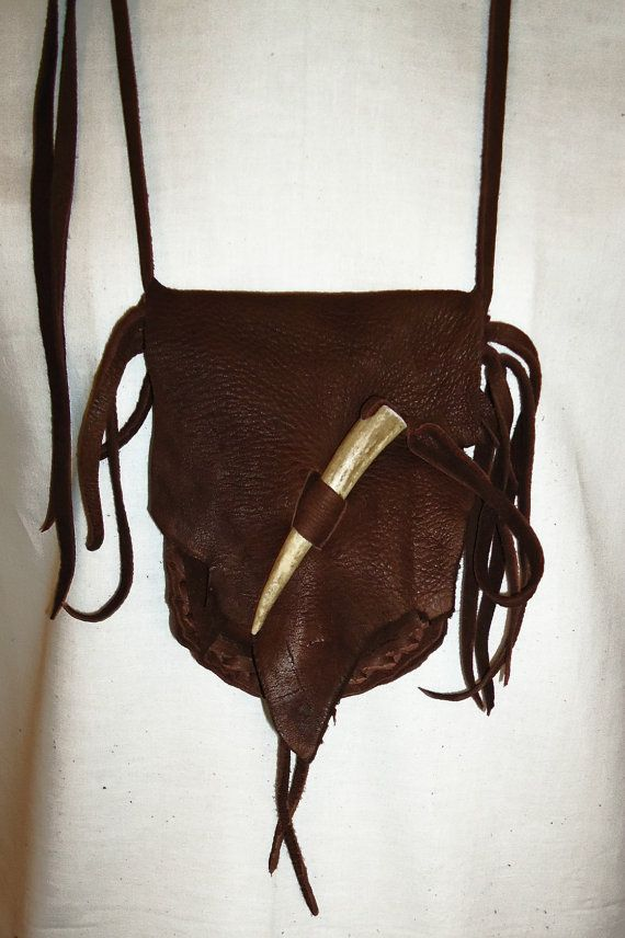 Leather medicine bag antler tip pouch mountain by LeatherBagLady, $31.95