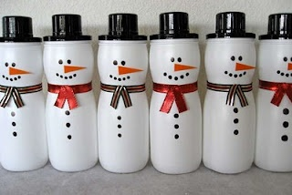Puff containers into snowmen