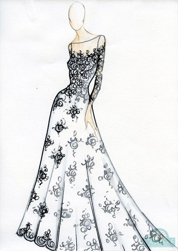 Vestido de noiva: corpo em formato pera - Croqui por Casa Assuf