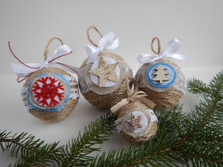 Vánoční lidová, baňka jutová... dekorace na vánoční stromeček inspirovaná tradiční lidovou tvorbou. / DIY rustic christmas ornament. #DIY #rustic #christmas #ornaments