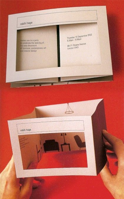 Too in-debth, but gaina, with the pop-up idea:   Rabih Hage Interior Design Invitation - Hat-trick