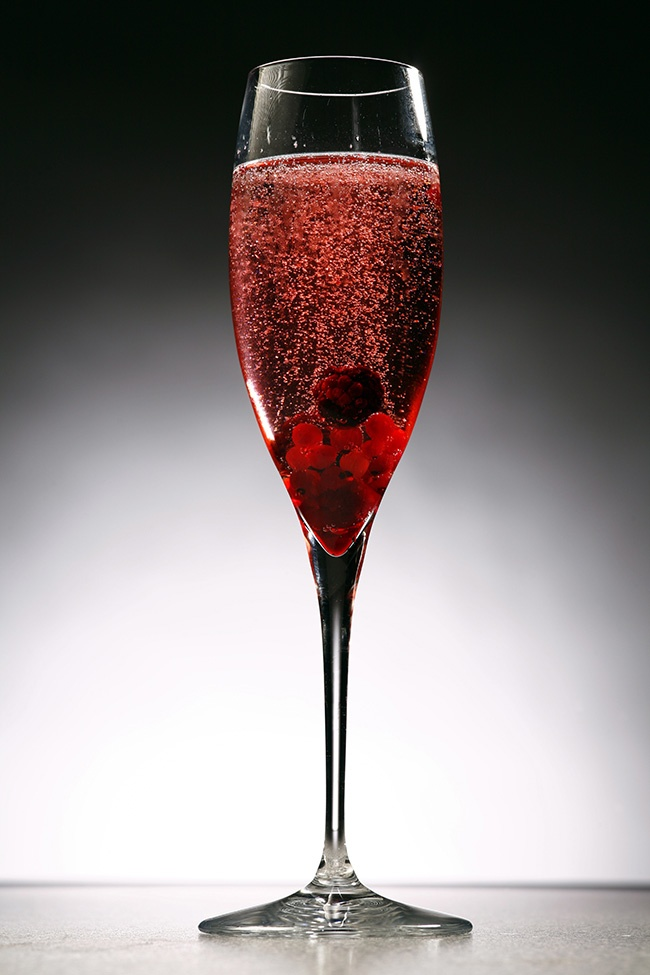 Kir Royale 1 part creme de cassis (A sweet red ...