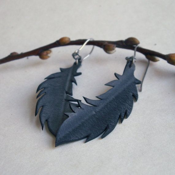 Black Feather Earrings - eco friendly jewelry - upcycled bicycle inner tube