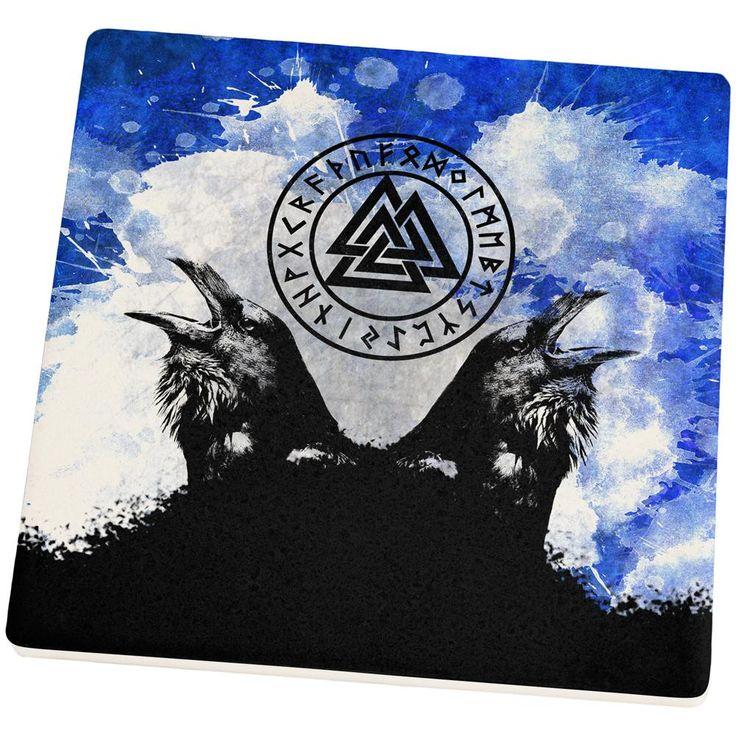 Huginn and Muninn Odin's Ravens Blue Splatter Set of 4 Square Sandstone Coasters
