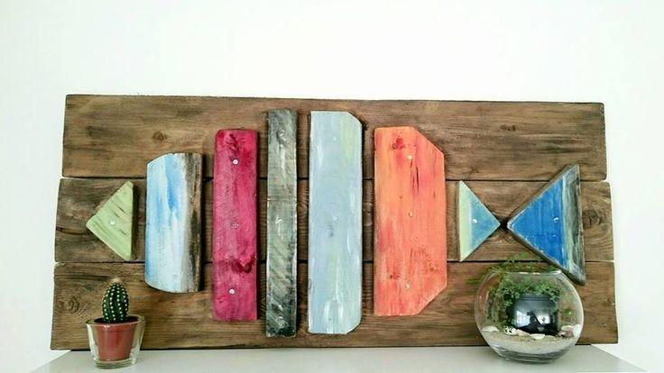 Nyár, hal, raklap, barkácsolás, festés.... Summer, fish, pallet, DIY, painting ....