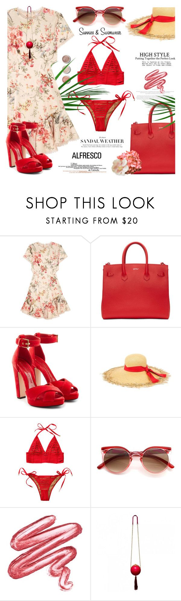 """""""Easy breezy: alfresco dining"""" by jan31 ❤ liked on Polyvore featuring Zimmermann, Off-White, Alexander McQueen, Sensi Studio, Beach Bunny, TIBI, Lime Crime, Terre Mère, Summer and swimwear"""