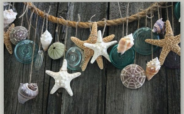 Muschel Seesterne Seil rustikale Wohnaccessoires