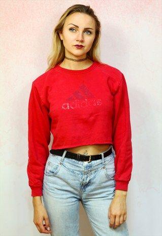 1980S VINTAGE RED REWORKED RAW HEM RED CROP JUMPER