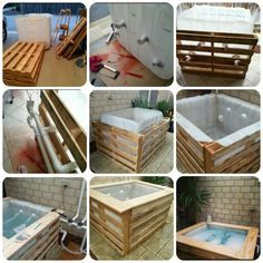 DIY PLUNGE POOL A few pallets, a water storage container, a water pump from an old jacuzzi and you have your very own pool/jacuzzi.