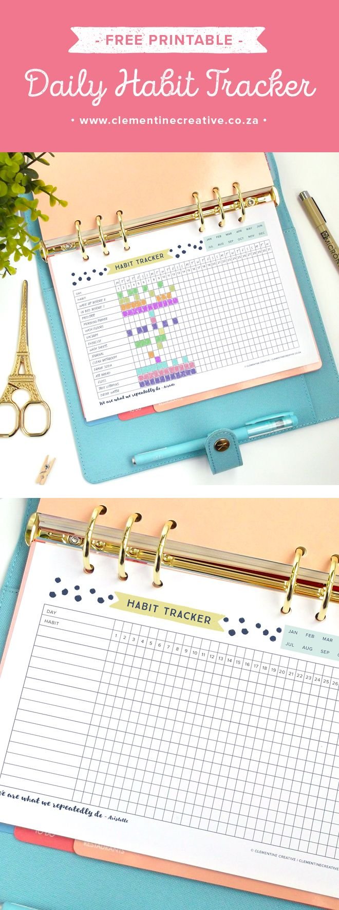 Reach your goals with this free printable daily habit tracker. Use it to keep track of tasks and habits. Download it here for free and place it in your binder or A5 Filofax or large kikki.K planner. Más