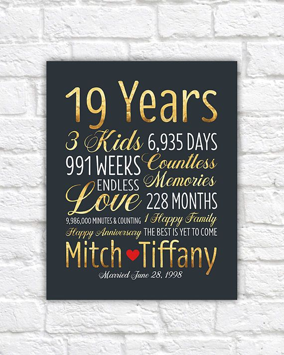 Personalized Wedding Anniversary Gift 19th Anniversary 19 Etsy Custom Anniversary Gift Mens Anniversary Gifts Anniversary Gifts For Him