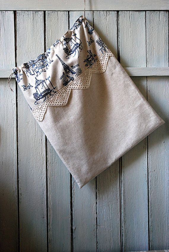 French linen travel bag, linen lingerie bag, shoe bag, linen and blue Paris motifs // travel drawstring bag, storage bag // gift idea