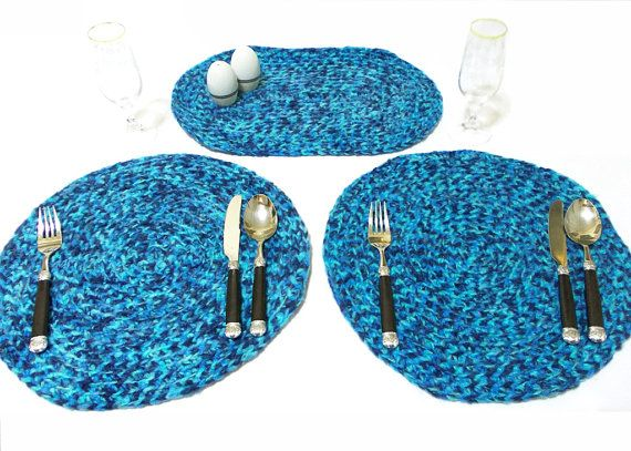 Crochet hot pad table mat / place mat, plate holder.... Very stylish... Blue placemat- Set of two placemat - Blue service set