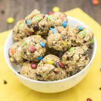 No Bake Monster Cookie Granola Bar Bites