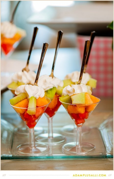 Mini-dessert! Fruit and cream in mini martini glasses, would do this on a tasting spoon