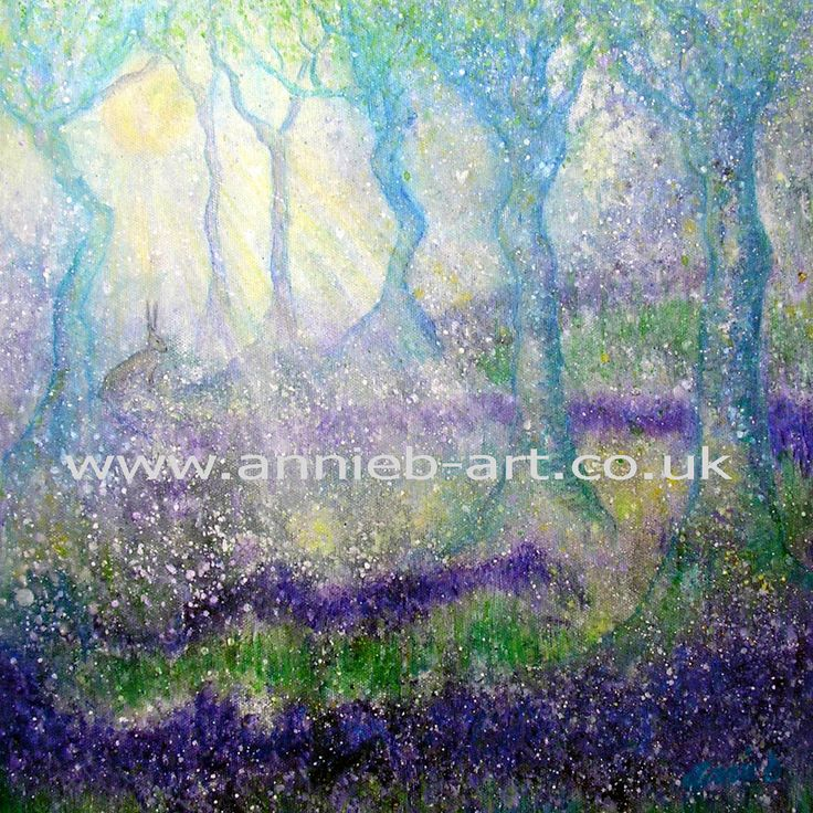 Hare in magical bluebell wood with tree goddess