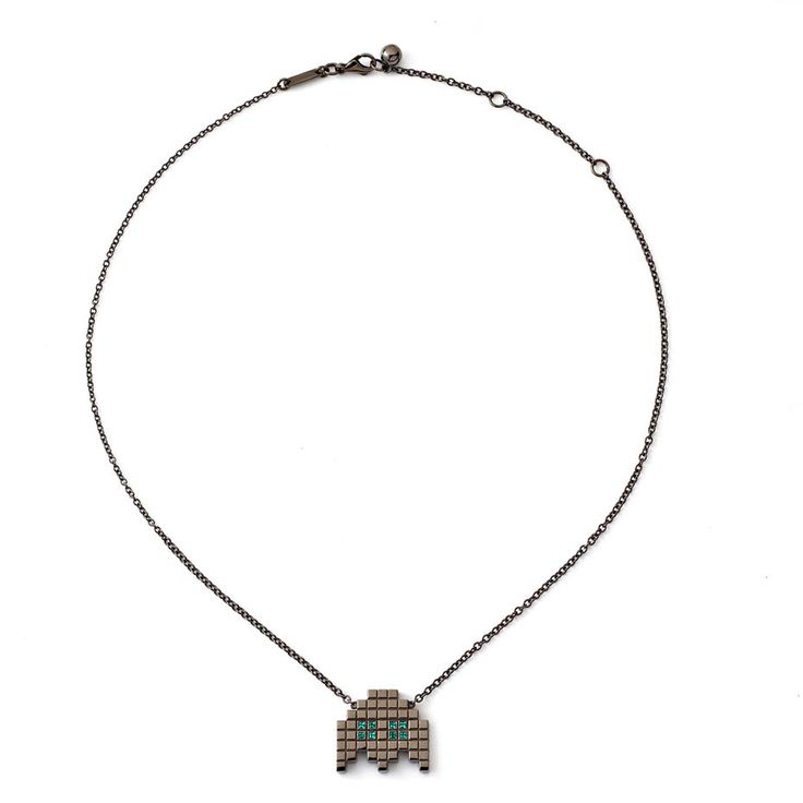 "Chockolate-like jewelry, beat that :) Francesa Grima ""Invader II"" necklace with emeralds in blackened gold (£1,965)."