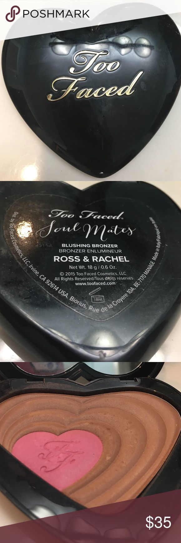Slightly used Too Faced Blushing bronzer Too faced soul mates Ross &Rachel blushing bronzer barely used Too Faced Makeup Bronzer