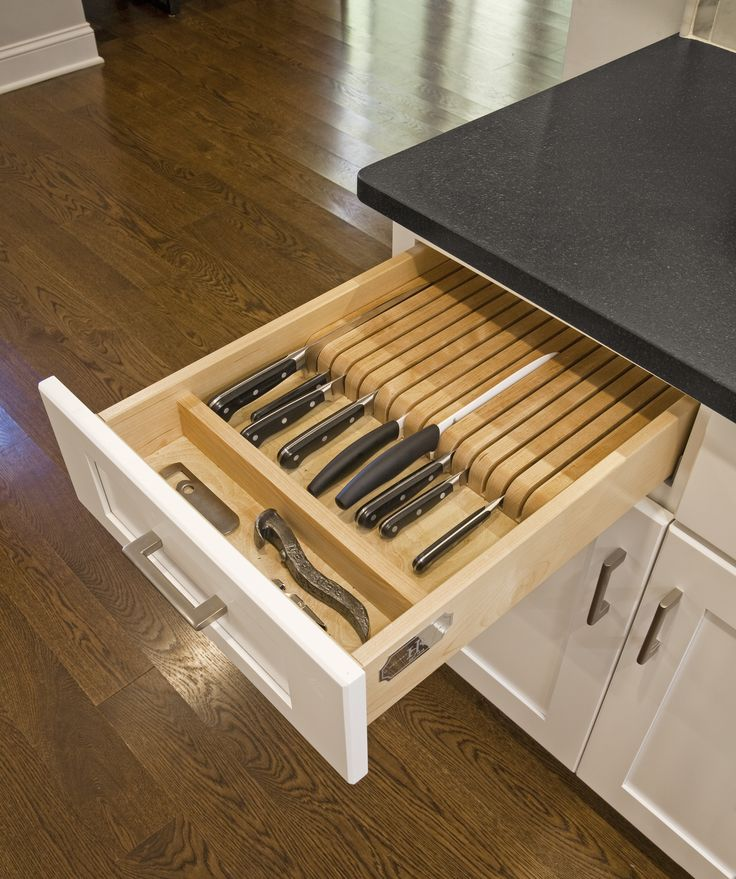 This Lafayette Hill Kitchen has many areas to keep our client organized including this knife block drawer insert.