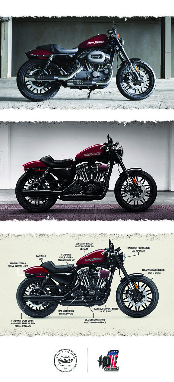 Stoplight-to-stoplight power, agility and garage-built custom style to shatter every mold.   2016 Harley-Davidson Roadster