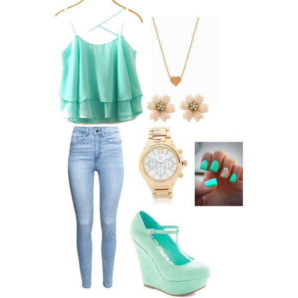 Mint N' Gold by shaydaniels547 on Polyvore featuring polyvore, fashion, style, H&M, Minnie Grace and River Island
