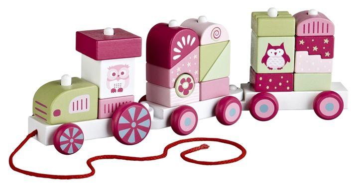 Kids Concept Dragleksak Tåg med Klossar Pumpkin Rosa
