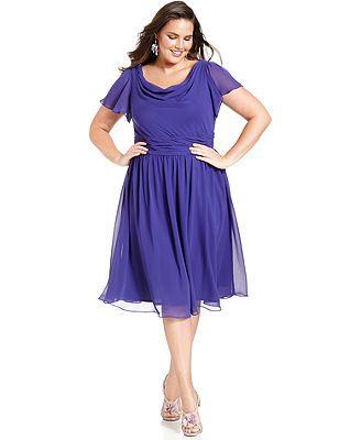 SL Fashions Plus Size Short-Sleeve Cowl-Neck Dress - I wish it wasn't such a dark color